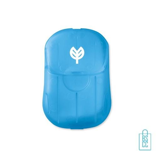 Zeepblaadjes doosje bedrukt blauw, corona preventie artikelen