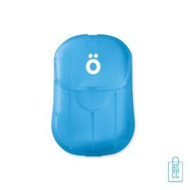 Zeepblaadjes doosje blauw bedrukt, corona preventie artikelen